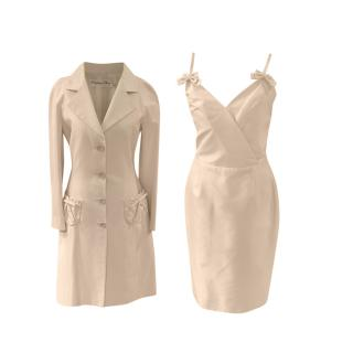 Christian Dior Ivory Vintage Bow Detail Strapless Dress & Coat
