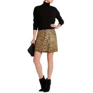 McQ by Alexander McQueen Leopard Calf Hair A-Line Skirt