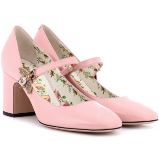 Gucci Pale Pink Bee Applique Lois Patent Mary-Janes