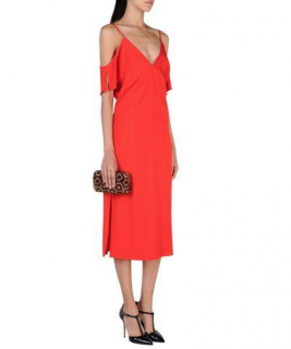 T by Alexander Wang Red Satin Cold-Shoulder Dress