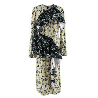 Marni Green & Yellow Floral Crepe Ruffle Dress