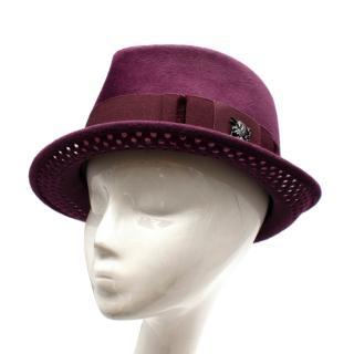 Philip Treacy Burgundy Wool Felt Fedora Hat