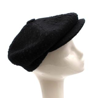 Studio Donegal Black Tweed Hand Woven Gatsby Cap