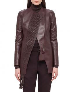 Akris Aubergine Lambskin Woven Panel Leather Jacket