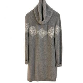 Loro Piana Grey Chevron Cable Knit Cashmere Dress & Snood