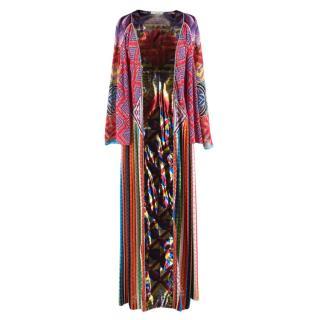 Mary Kantrantzou Silk Blend Metallic Panelled Pleated Dress