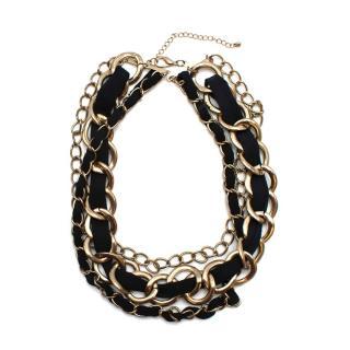 Bespoke Gold Tone Large Chain & Ribbon Necklace