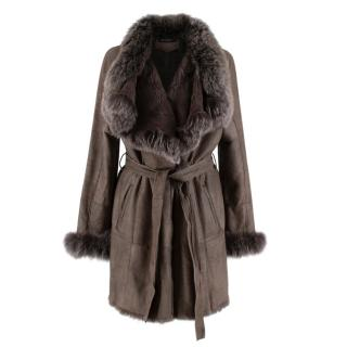 Rino & Pelle Brown Rabbit Fur Lined Belted Coat