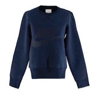 Nike Blue Cotton & Wool Neoprene & Knit Navy Sweater