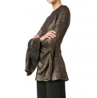 Ellery Black & Gold Brocade Wide Sleeve Top