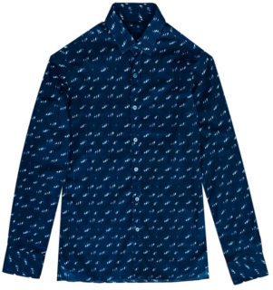 Lanvin Blue Abstract Print Tailored Shirt