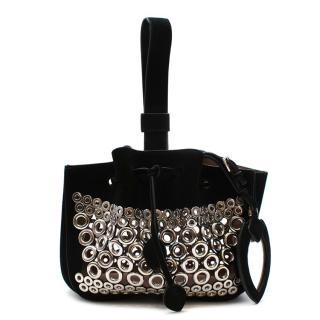 Alaia Black Suede Rose-Marie Bracelet Bag
