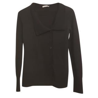 Max Mara Black Wool Asymmetric Cardigan