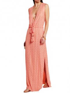 Melissa Odabash peach crocheted maxi dress