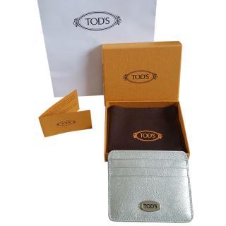 Tod's Silver Calfskin Card Holder