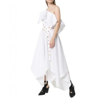 Alexander McQueen White Asymmetric Eyelet Dress