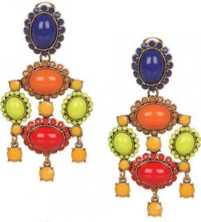 Oscar de la Renta Multi-Coloured Cabochon Earrings