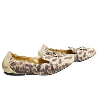 Hogan Snakeskin Embossed Tassel Loafers