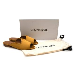 Le Monde Beryl Mustard Satin Open Toe Flat Sandals