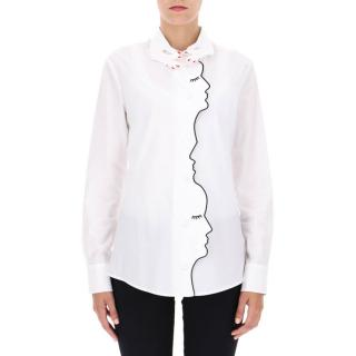 Vivetta White Cotton Embroidered Face Shirt