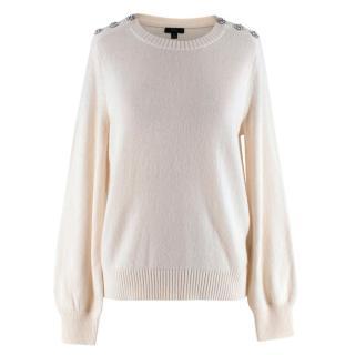 J. Crew Ivory Wool Blend Crystal Embellished Knit Sweater
