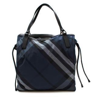Burberry Blue Checkered Print Nylon & Leather Tote Bag
