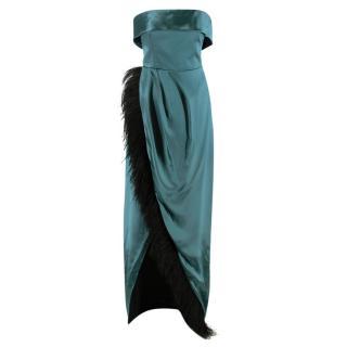 Alina London Emerald Satin Strapless Anastasia Feather Gown