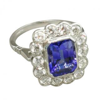 Bespoke 18ct White Gold & Platinum Diamond & Tanzanite Ring
