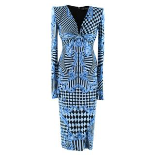 Versace Blue Harlequin Baroque Print Draped Dress