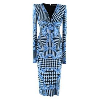 Versace Blue Harlequin Baroque Print Draped Dress