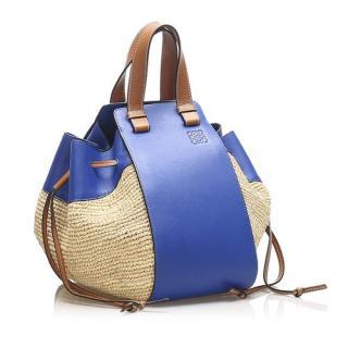 Loewe Hammock Leather Trimmed Raffia Tote Bag