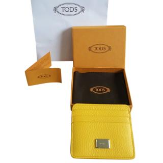 Tod's Yellow Grained Leather Card Holder