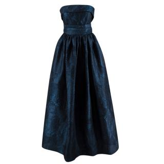 Alina London Navy Brocade Strapless Gown