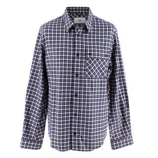 Aztech Mountain Blue Checkered Cotton Flannel Shirt