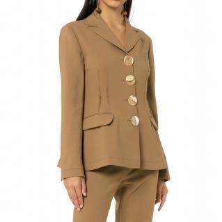Rejina Pyo Brown Wool Oversized Buttons Blazer Jacket