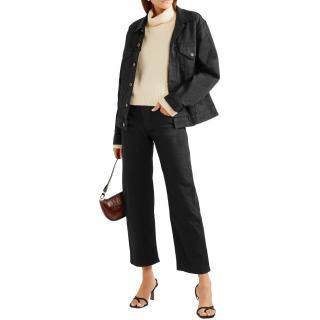Khaite Black Cotton Denim Wendell Jeans