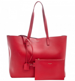 Saint Laurent Red Leather Shopping Tote