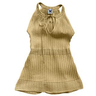 M Missoni Gold Knit Halterneck Sleeveless Top