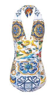 Dolce & Gabbana Majolica Print Halterneck Swimsuit