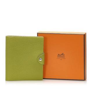 Hermes Green leather Ulysse MM Agenda Cover