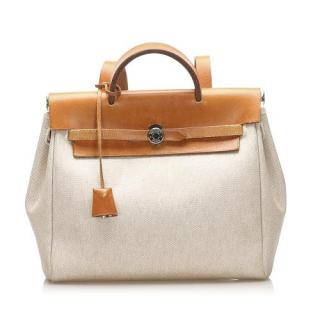 Hermes Cream and Tan Herbag Canvas Backpack