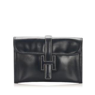 Hermes Jige PM Black Leather Clutch Bag