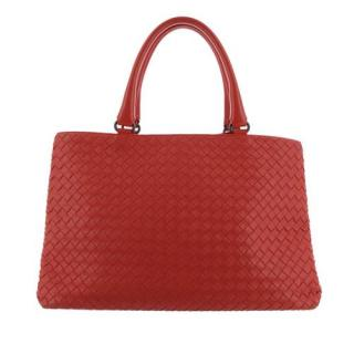 Bottega Veneta Intrecciato Red Leather Tote Bag