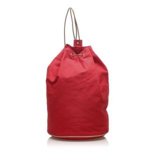 Hermes Red Polochon Mimile Canvas Backpack