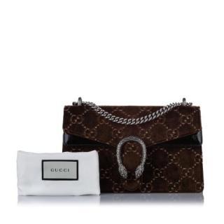 Gucci Small Brown GG Velvet Dionysus Shoulder Bag
