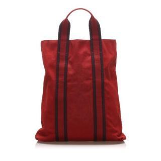 Hermes Red Canvas Fourre Tout Cabas