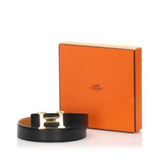 Hermes Constance Black Leather Belt