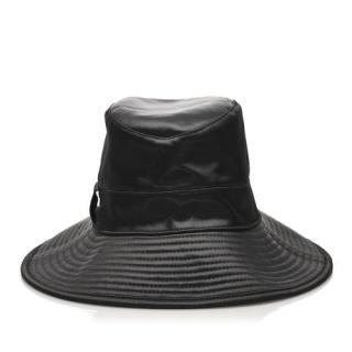 Hermes Black Leather Hat size 57