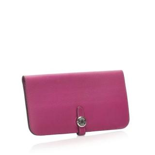 Hermes Dogon Pink Leather Long Wallet