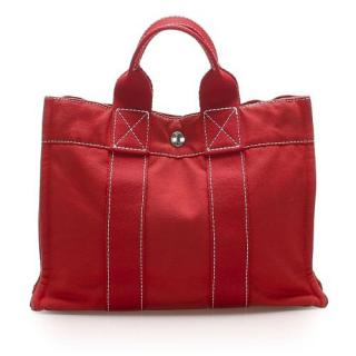 Hermes Red Toile Canvas Fourre Tout PM